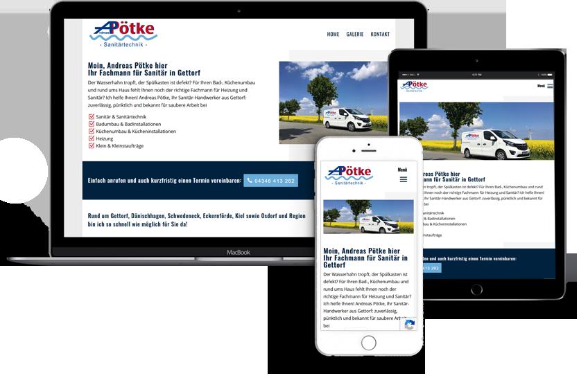 Webdesign für Andreas Poetke Gettorf bei Kiel