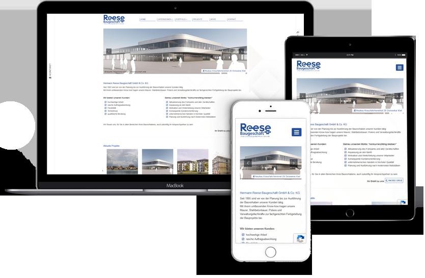 Neue Webseite für das Reese Baugeschäft