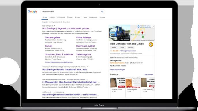 SEO, Google My Business für Holz Dahlinger