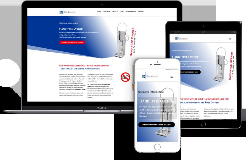 Webdesign für Hand Free Opener