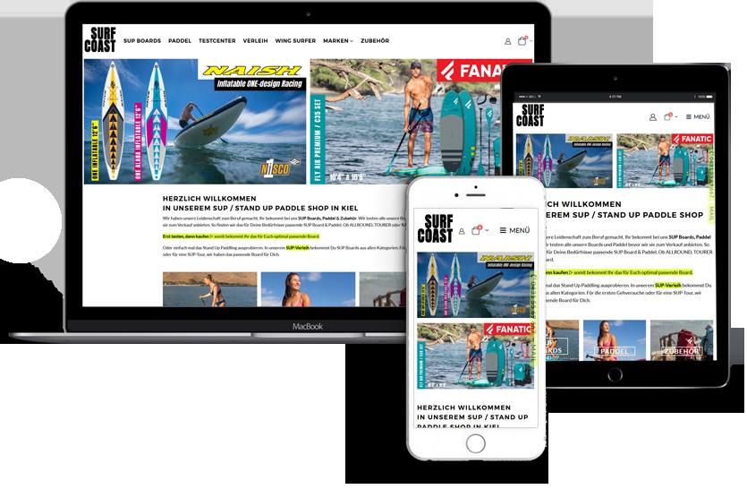 WEBDESIGN für SURF COAST - SUP SHOP