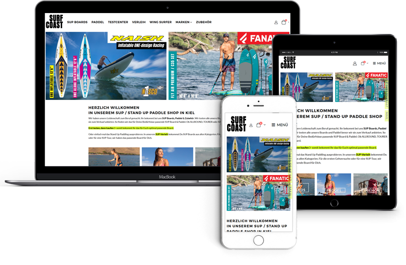 WEBDESIGN für SURF COAST - SUP SHOP