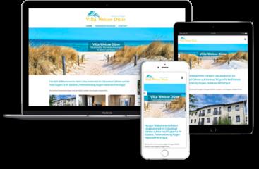 Webdesign für Villa Weisse Duene